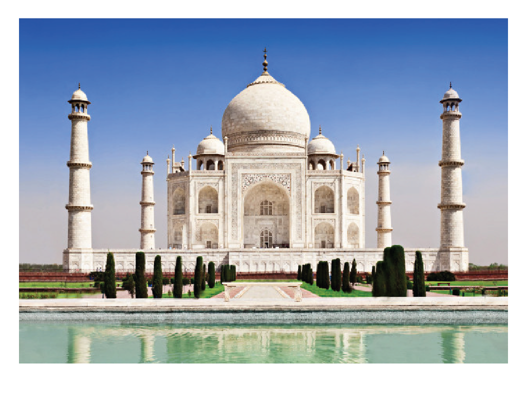 Examples of Symmetry in Real Life - Architectural monuments such as the Taj Mahal are examples of symmetrical patterns.