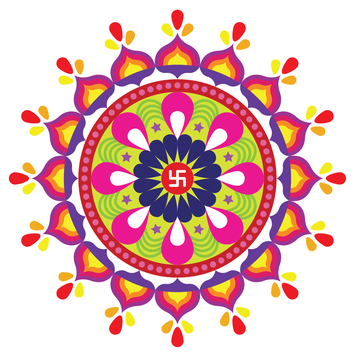 Symmetry in our daily life - Rangolis include symmetrical patterns in them.