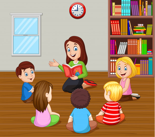 Teacher telling a story to kids in the classroom increasing student engagement