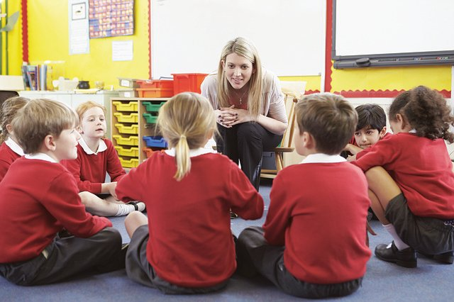 Students sitting in a circle in classroom and teacher taking feedback from them