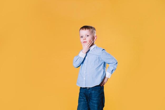 Critical thinking-Thoughtful little boy