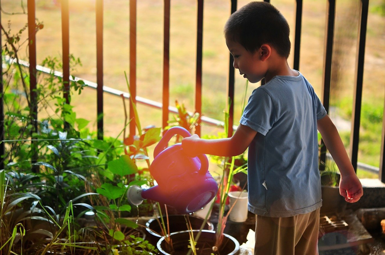 Fun activities at home: child watering plants in his home