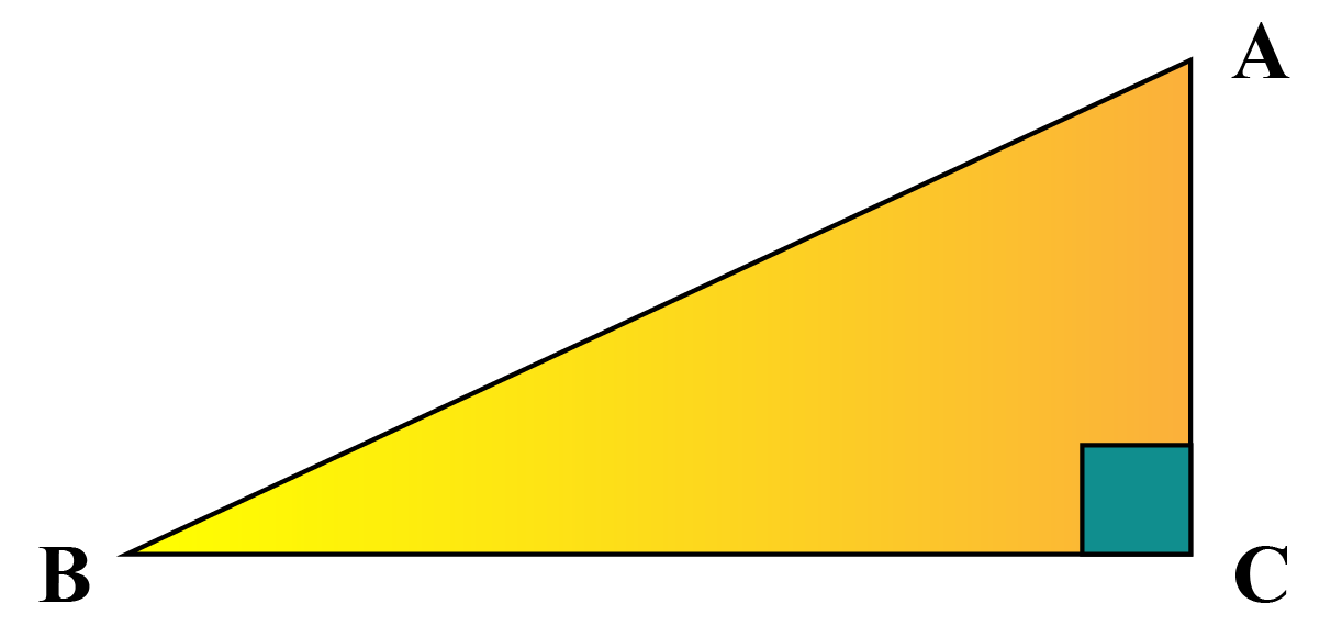 A right-angled triangle ACB
