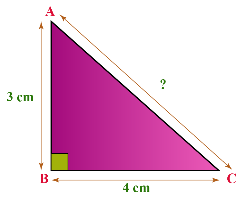 Find the hypoteneuse of a right triangle whose other two legs measure 3 cm and 4 cm