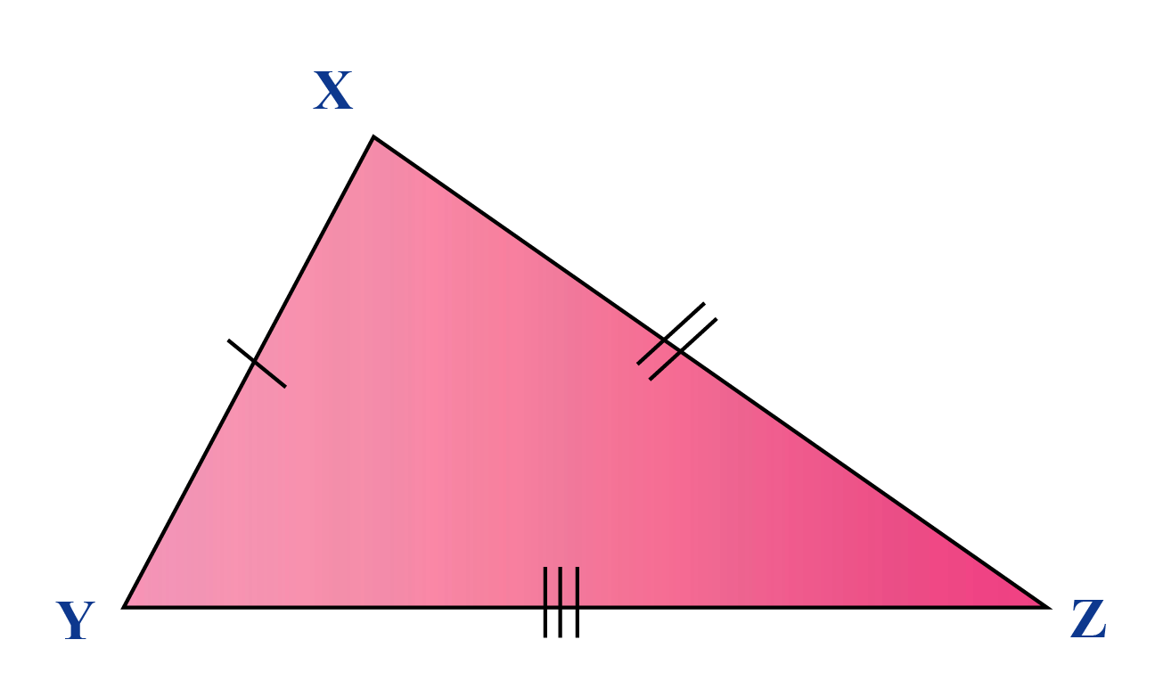 A scalene triangle XYZ has all sides unequal.