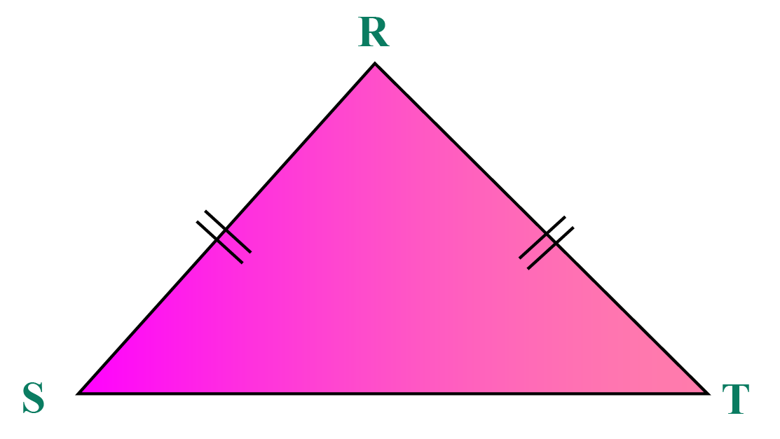 Isosceles triangle RST has two sides equal.