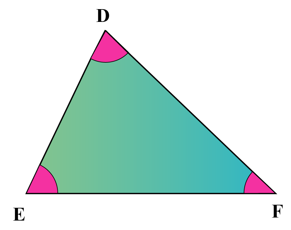Acute-angled triangle DEF - all angles are less than 90 degrees