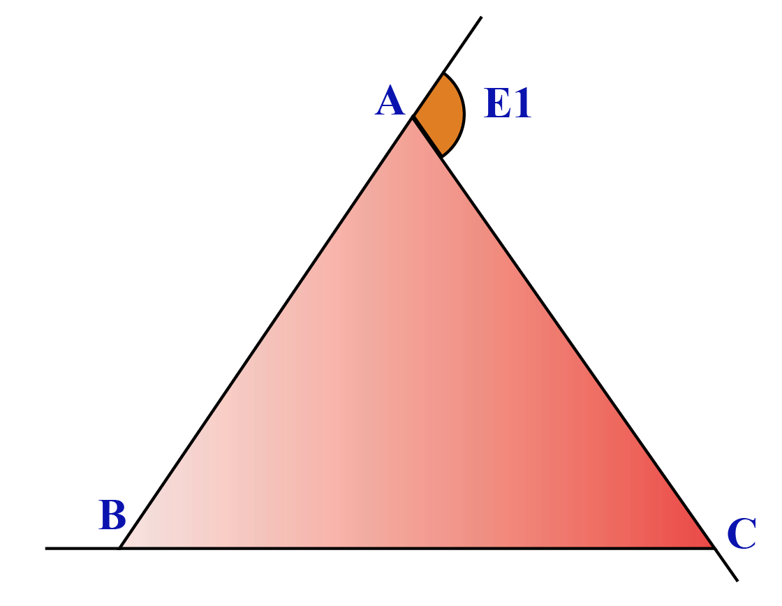 Exterior angle of a triangle is the sum of interior opposite angles.