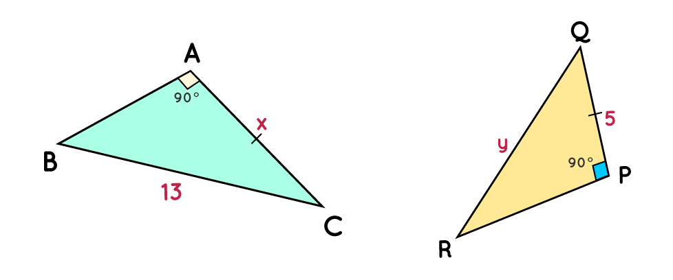 Find the value of x and y in triangles