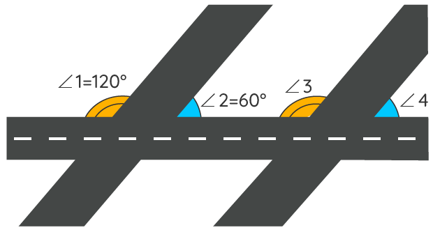 Two parallel streets formcorresponding angles