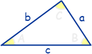 triangle of trigonometry with sides a,b and c