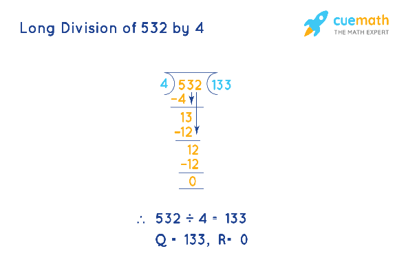 Long Division of 532 by 4