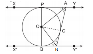 In Figure 10.13, XY and X′ Y′ are two parallel tangents to a circle with centre O and another tangent AB with the point of contact C intersecting XY at A and X′ Y′ at B.Prove that ∠AOB = 90°.