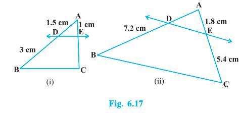 In Fig. 6.17, (i) and (ii), DE    BC. Find EC in (i) and AD in (ii).