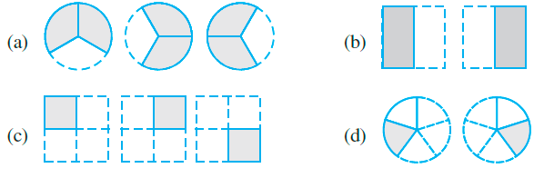 Which of the drawing (a) to (d) show: i) 2 × 1/5 ii) 2 × 1/2 iii) 3 × 2/3 iv) 3 × 1/4