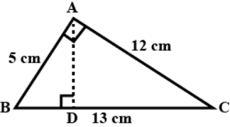 ∆ABC is right angled at A (Fig 11.25). AD is perpendicular to BC. If AB = 5 cm, BC = 13 cm and AC = 12 cm, Find the area of ∆ABC. Also find the length of AD.