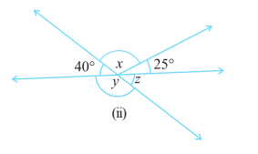 Find the values of the angles x, y and z in each of the following: