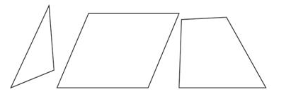 Give three examples of shapes with no line of symmetry.