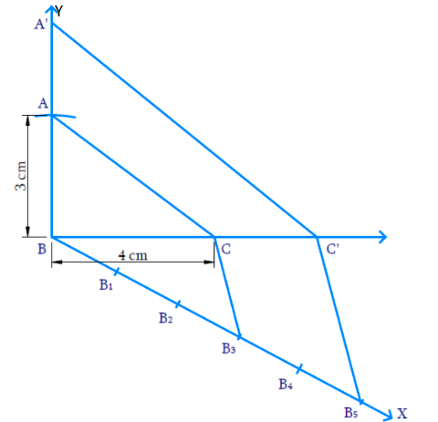 Draw a right triangle in which the sides (other than hypotenuse) are of lengths 4 cm and 3 cm. Then construct another triangle whose sides are 5/3 times the corresponding sides of the given triangle