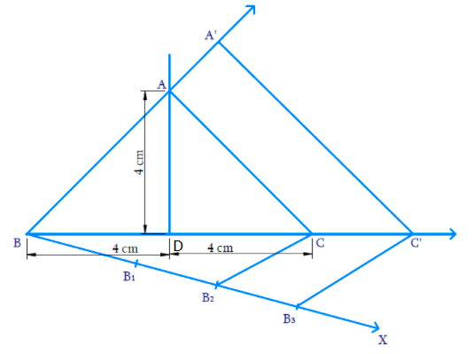 Construct an isosceles triangle whose base is 8 cm and altitude 4 cm and then another triangle whose sides are times the corresponding sides of the isosceles triangle.