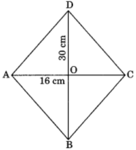 The diagonals of a rhombus measure 16 cm and 30 cm. Find its perimeter.