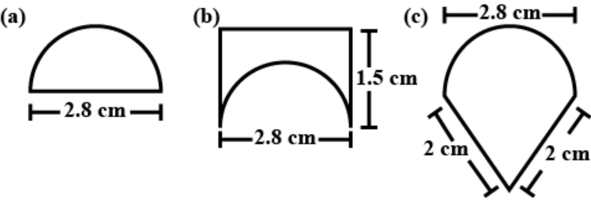 An ant is moving around a few food pieces of different shapes scattered on the floor. For which food piece would the ant have to take a longer round? Remember, the circumference of a circle can be obtained by using the expression c = 2πr, where r is the radius of the circle