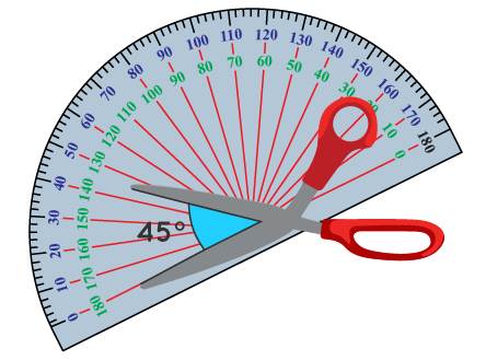 measured angle between arms of scissors is 45 degrees