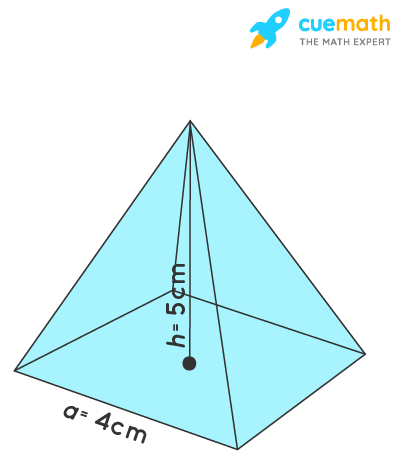 square pyramid with a side of 4 cm and a height of 5 cm.