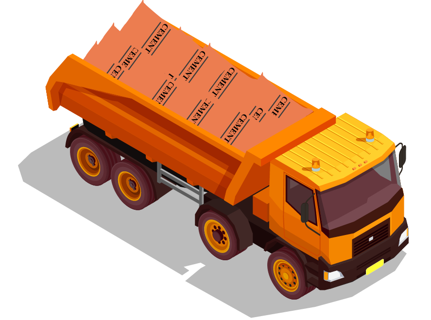 A truck transports 500 kg of cement to the market