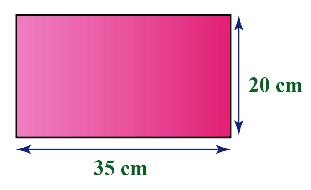 Area of a rectangle examples: Area of a rectangle with dimensions 35 meters and 20 meters