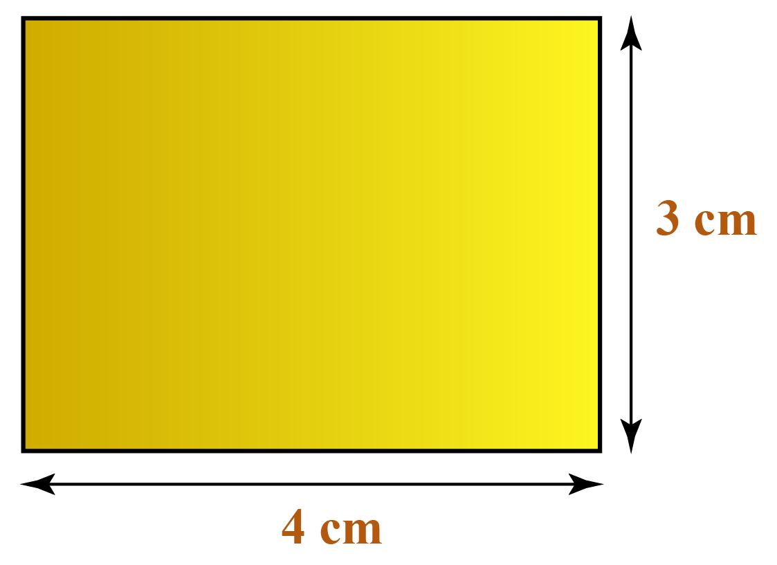 Area of a rectangle of length 4 cm and breadth 3 cm using unit squares