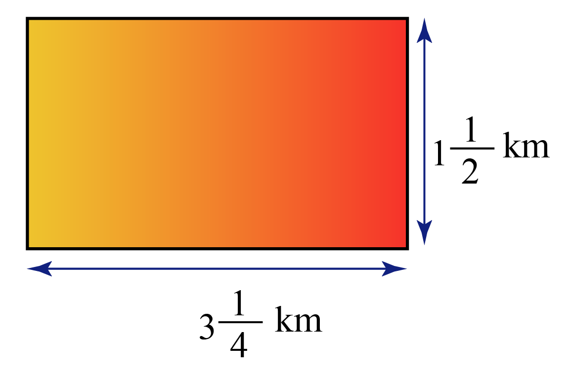 Area of a rectangle examples: Area of a rectangle with dimensions 1 and half kilometers and 3 and one-fourth kilometers