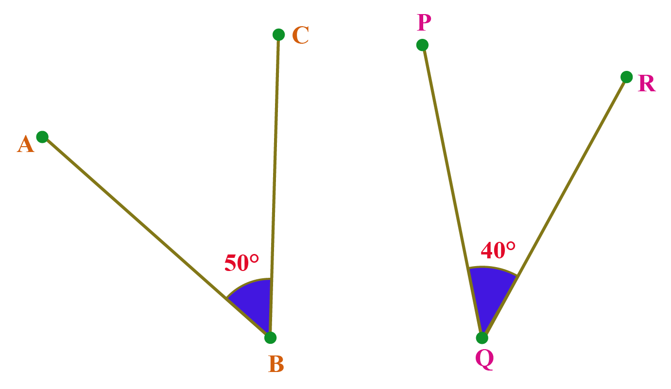 non adjacent complementary angles: angle ABC is 50 and angle PQR is 40.