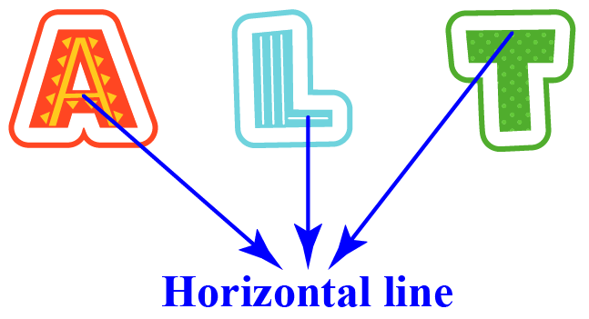 Horizontal lines of alphabets A, L, and T