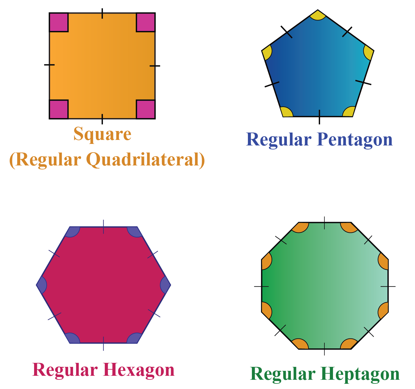 Finding the interior angles of regular polygons
