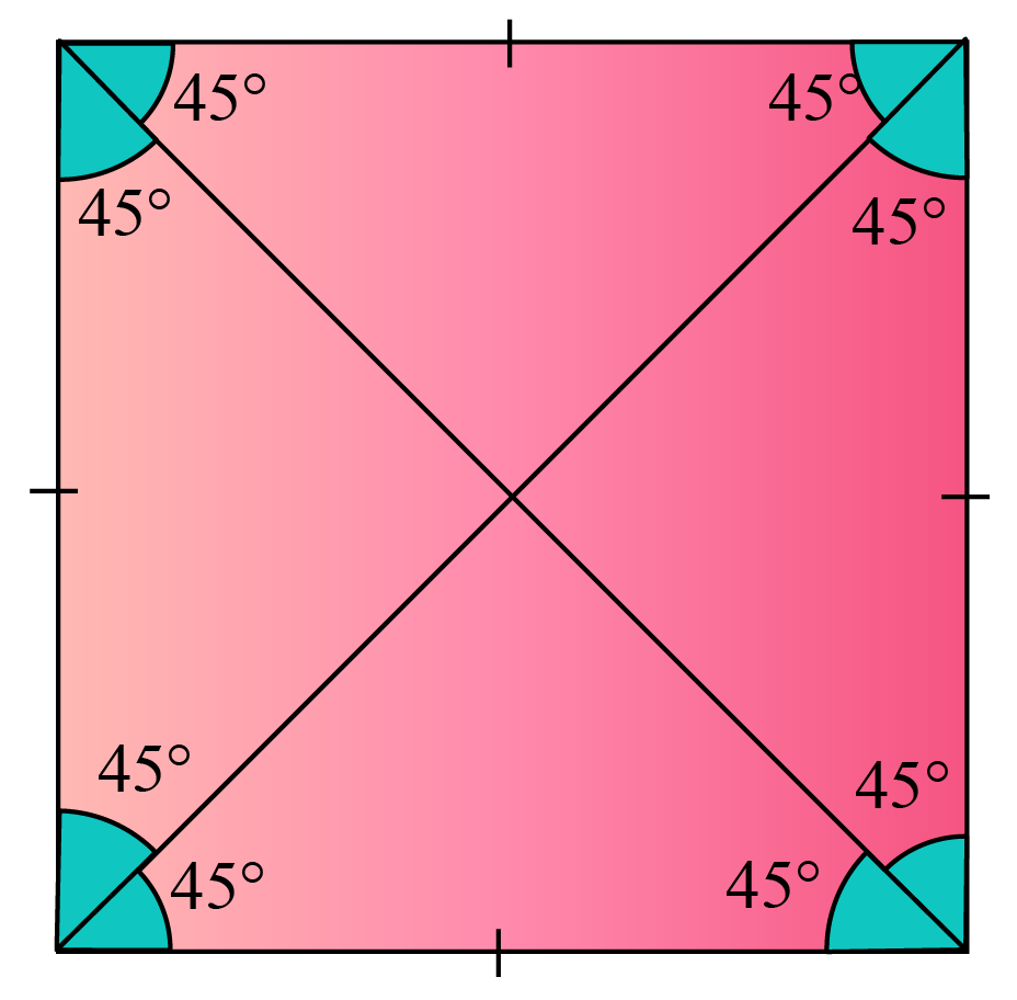 Diagonal angle in a square is 45 degrees