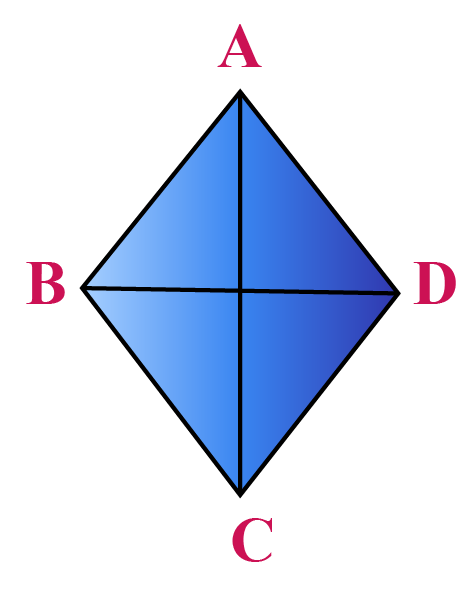 The diagonals of a quadrilateral are shown. Each quadrilateral has 2 diagonals.