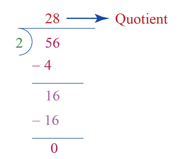 Division word problem: finding the quotient when 56 is divided by 2