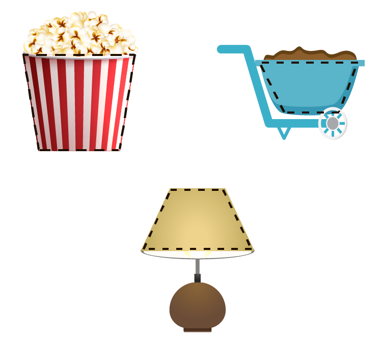 Real-life examples of a trapezoid (trapezium) includes a box of popcorn, a wheel barrow, and a lampstand