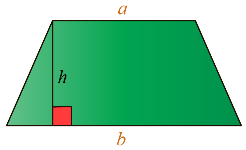 Area of a trapezoid formula: a trapezoid of bases a and b and height h