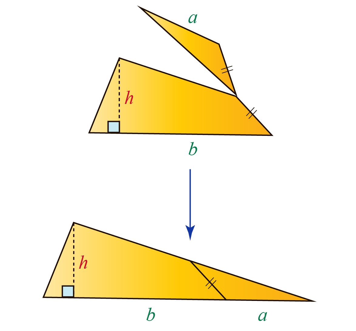 Proof of formula of area of a trapezoid using a triangle