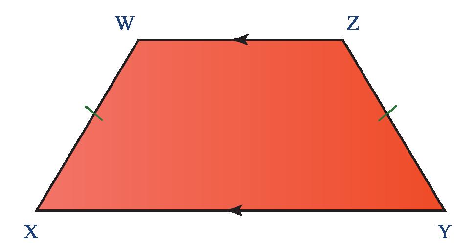 Properties of quadrilaterals: Properties of an isosceles trapezium WXYZ