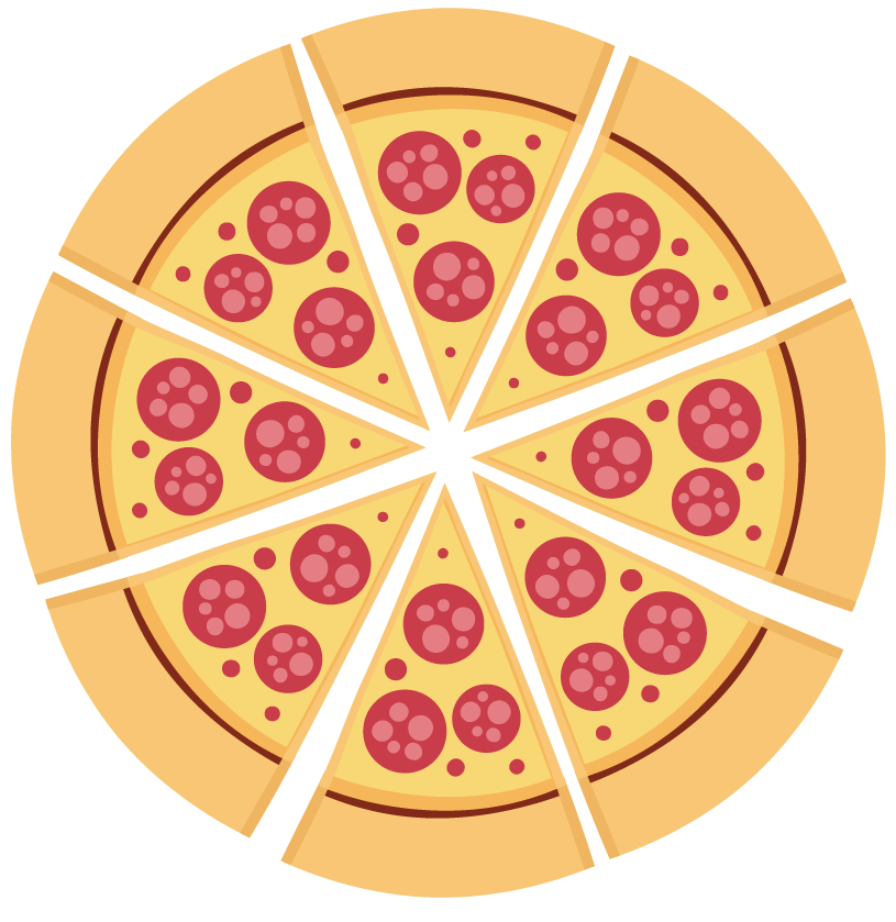 Finding remainder usually: Pizza divided into 8 equal parts.
