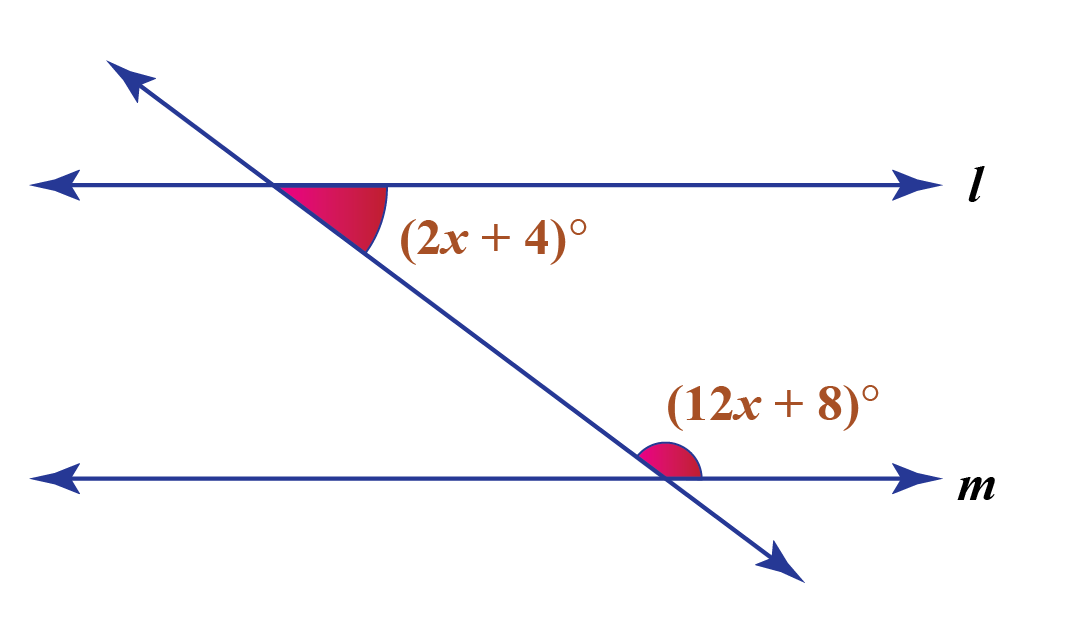 Consecutive interior theorem examples: Two angles (2x+4) and (12x+8) are consecutive interior angles