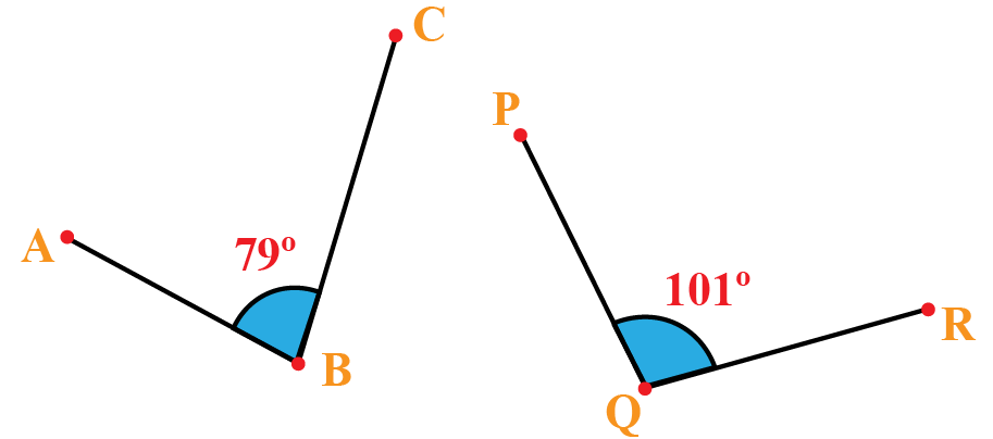 Non adjacent supplementary angles: angle ABC is 79 and angle PQR is 101.