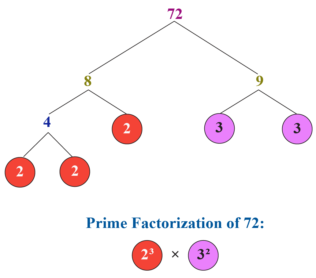 LCM using fundamental theorem of arithmetic: Prime factorization of 72