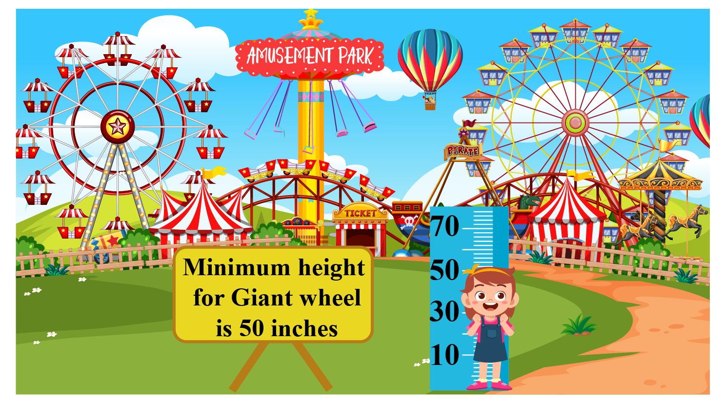 Greater than or equal to real-life example: The instructions on a board at the entrance of a giant wheel at an amusement park mention that the person riding it should be minimum 50 inches tall.