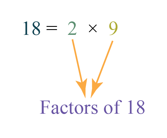 Factor definition explained using Factorisation of 18