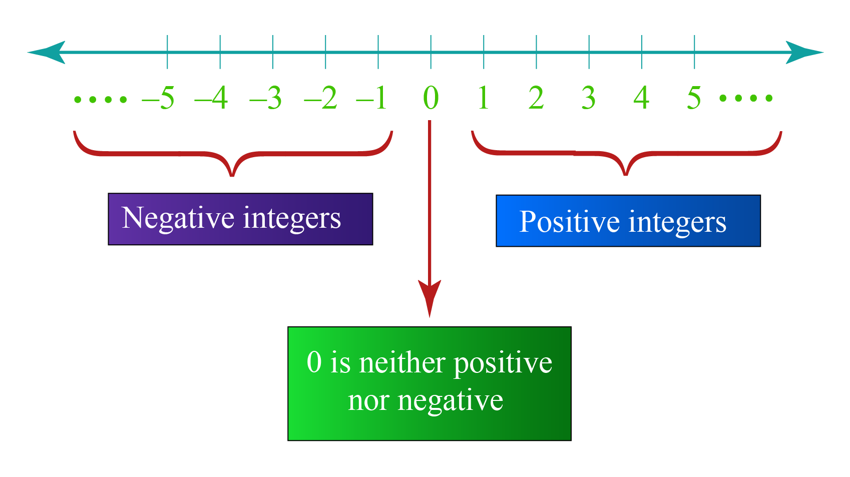 Integer number line: Integers have positive numbers, 0, and negative numbers