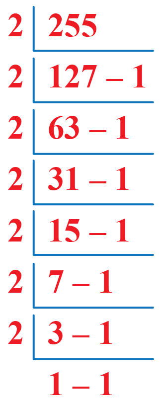 How to convert 255 in binary form?